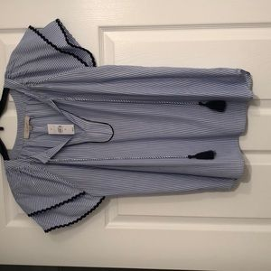 NWT. LOFT white&blue pinstriped flutter sleeve top